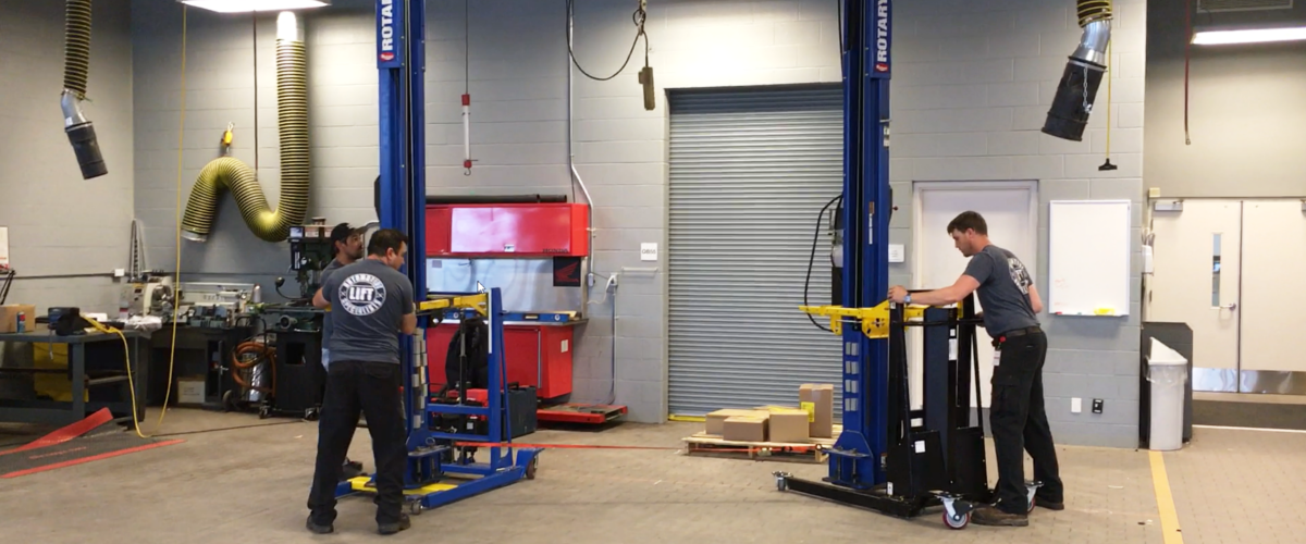 mpl lift moving a 2 post automotive hoist